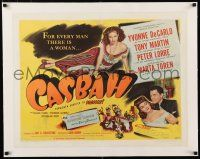 1s032 CASBAH linen style A 1/2sh '48 sexy Yvonne De Carlo laying on floor & with Tony Martin!