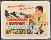 1s035 DANGEROUS MISSION linen 1/2sh '54 Victor Mature, Piper Laurie, an avalanche of action!