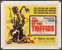 1s036 DAY OF THE TRIFFIDS linen 1/2sh '62 classic English sci-fi horror, art of monster with girl!