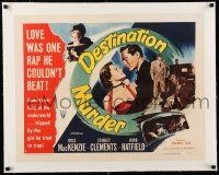 1s040 DESTINATION MURDER linen style B 1/2sh '50 Joyce MacKenzie was one rap Clements couldn't beat!