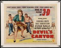 1s041 DEVIL'S CANYON linen style B 1/2sh '53 art of sexy Virginia Mayo, she's real as flesh in 3-D!