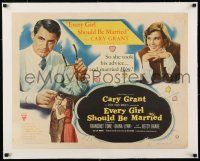 1s042 EVERY GIRL SHOULD BE MARRIED linen 1/2sh '48 hapless doctor Cary Grant & pretty Diana Lynn!