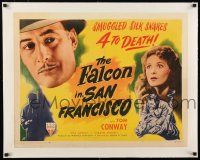 1s043 FALCON IN SAN FRANCISCO linen style B 1/2sh '45 Tom Conway, smuggled silk snares 4 to death!