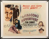 1s044 FALCON'S ADVENTURE linen style B 1/2sh '46 Tom Conway, murder axis traps Latin beauty!