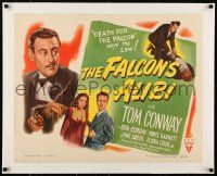 1s045 FALCON'S ALIBI linen style B 1/2sh '46 the law says death for detective Tom Conway, cool art!
