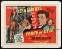 1s050 FORCE OF EVIL linen style B 1/2sh '48 cool image of smoking John Garfield & sexy Marie Windsor