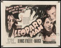 1s056 LEOPARD MAN linen style A 1/2sh R52 Jacques Tourneur, O'Keefe & Margo are victims of a killer!