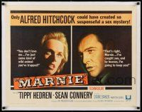 1s059 MARNIE linen 1/2sh '64 different split image of Sean Connery & Tippi Hedren, Alfred Hitchcock