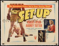 1s063 SET-UP linen style B 1/2sh '49 boxer Robert Ryan down in the boxing ring, Robert Wise