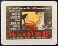 1s064 SHE COULDN'T SAY NO linen style A 1/2sh '54 sexy short-haired Jean Simmons, Dr. Robert Mitchum