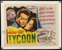 1s069 TYCOON linen style A 1/2sh '47 great close up romantic artwork of John Wayne & Laraine Day!