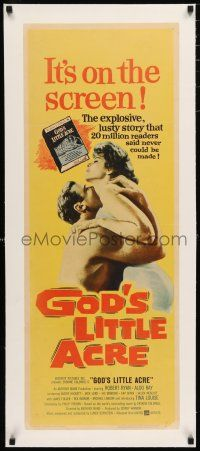 1s017 GOD'S LITTLE ACRE linen insert '58 c/u of barechested Aldo Ray embracing sexy Tina Louise!