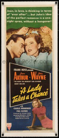 1s019 LADY TAKES A CHANCE linen insert '43 Jean Arthur moves west and falls in love with John Wayne!