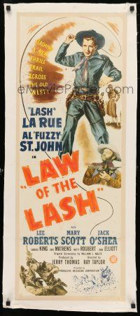 1s020 LAW OF THE LASH linen insert '47 great full-length artwork image of Lash La Rue whipping!