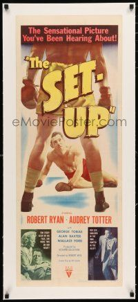 1s024 SET-UP linen insert '49 great image of boxer Robert Ryan fighting in the ring, Robert Wise!