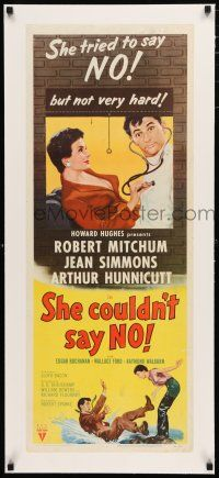 1s025 SHE COULDN'T SAY NO linen insert '54 sexy short-haired Jean Simmons examines Robert Mitchum!