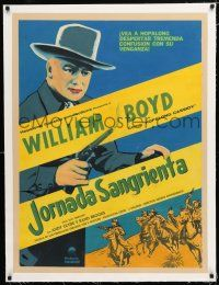 1s080 SINISTER JOURNEY linen Mexican poster R50s art of Boyd as Hopalong Cassidy, Two-Gun Territory!