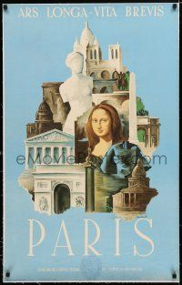 1s002 PARIS linen French travel poster '36 cool art of famous landmarks by Marton!