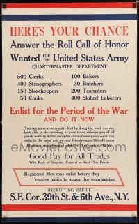 1s007 HERE'S YOUR CHANCE linen 25x40 WWI war poster '17 a chance to answer the roll call of honor!