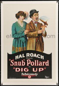 1t073 DIG UP linen 1sh '22 Hal Roach, great art, but what in the world is Snub Pollard smoking?