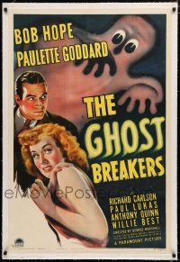 1t109 GHOST BREAKERS linen 1sh '40 great art of Bob Hope, Paulette Goddard & wacky spooky ghost!