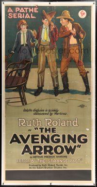 1w033 AVENGING ARROW linen chapter 8 3sh '21 Ruth Roland Pathe serial, man's disguise is discovered!