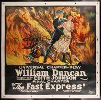 1w025 FAST EXPRESS linen chapter 15 6sh '24 stone litho of William Duncan rescuing Edith Johnson!