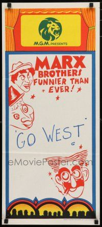 1y822 MARX BROTHERS FUNNIER THAN EVER stock Aust daybill 70s wacky art Go West