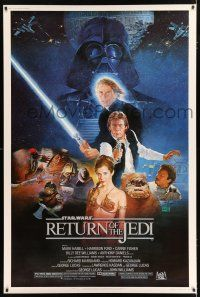 2c435 RETURN OF THE JEDI style B 40x60 '83 George Lucas classic, Hamill, Ford, Sano art!
