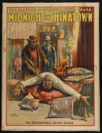 2c001 MIDNIGHT IN CHINATOWN 21x28 stage play poster c1903 great stone litho of the death scene!