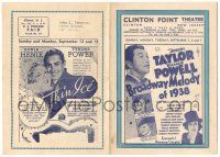2g018 CLINTON POINT THEATRE herald '37 Broadway Melody of 1938, Thin Ice, Between Two Women +more!