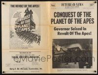 2g020 CONQUEST OF THE PLANET OF THE APES herald '72 governor seized in revolt, newspaper style!
