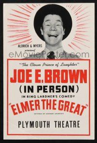 2g027 ELMER, THE GREAT stage play herald '40 Joe E. Brown in person in Ring Lardner's comedy!