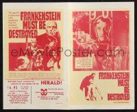 2g034 FRANKENSTEIN MUST BE DESTROYED herald '70 Peter Cushing is more monstrous than his monster!