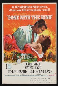 2g037 GONE WITH THE WIND herald R70s Terpning art of Gable carrying Leigh over burning Atlanta!