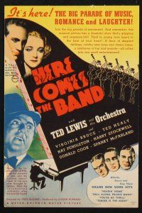 2g040 HERE COMES THE BAND herald '35 Ted Lewis and His Orchestra, Virginia Bruce & Ted Healy!