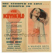 2g051 KEYHOLE die-cut herald '33 art of sexy Kay Francis, George Brent was paid to be a peeping Tom!