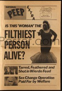 2g071 PINK FLAMINGOS herald '72 Divine, Mink Stole, John Waters classic, cool newspaper style!