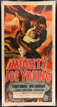 2w056 MIGHTY JOE YOUNG linen style B 3sh '49 1st Harryhausen, cool art of ape rescuing young girl!