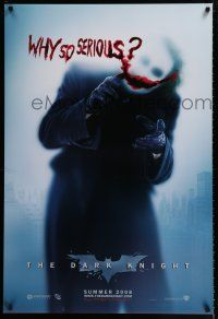 3b190 DARK KNIGHT teaser DS 1sh '08 Heath Ledger as the Joker, why so serious?
