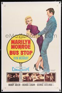 3p044 BUS STOP linen 1sh '56 great full-length art of Don Murray holding sexy Marilyn Monroe!