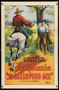 3p117 GALLOPING ACE linen 1sh '24 cool stone litho of cowboy Jack Hoxie on horse tying up bad guys!