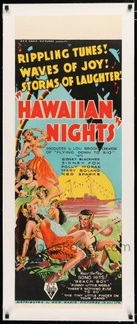 3r143 DOWN TO THEIR LAST YACHT linen long Aust daybill '34 art of island ladies, Hawaiian Nights!