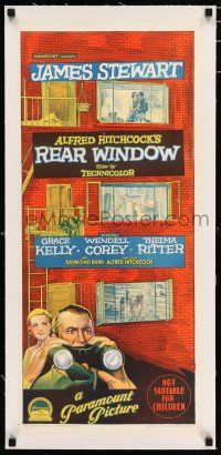 3r148 REAR WINDOW linen Aust daybill '54 Hitchcock, Stewart, Kelly, Richardson Studio stone litho!