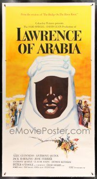 3s161 LAWRENCE OF ARABIA linen pre-Awards 3sh '62 David Lean classic, Peter O'Toole silhouette art!