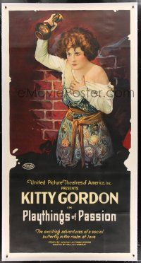 3s176 PLAYTHINGS OF PASSION linen 3sh '19 great stone litho of Kitty Gordon attacked by priest!