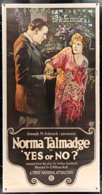 3s184 YES OR NO linen 3sh '20 stone litho of man taking gun away from Norma Talmadge!