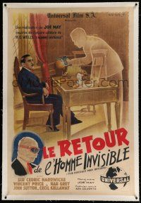 3s096 INVISIBLE MAN RETURNS linen French 31x46 '47 cool different Georges Dastor special FX art!