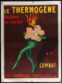 3s021 LE THERMOGENE linen 46x62 French advertising poster '29 Cappiello art of fire breathing devil!