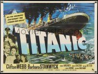 3t483 TITANIC British quad '53 Clifton Webb & Barbara Stanwyck, different art of legendary ship!